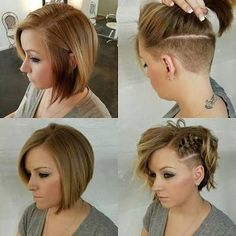 for Short Hairstyle kurze haare undercut Nice Braids for Short Hair - Love this Hair Medium Hair Styles, Curly Hair Styles, Short Styles, Bob Styles, Natural Hair Styles, Undercut Hairstyles Women, Undercut Women, Hairstyle Short, Female Undercut Long Hair
