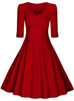 Miusol Damen Elegant Kurzarm Business Rockabilly Cocktailkleid retro 50er Jahre Party Stretch Kleid Rot Groesse L Miusol http://www.amazon.de/dp/B015H1FPQU/ref=cm_sw_r_pi_dp_ckjAwb0FABWT3
