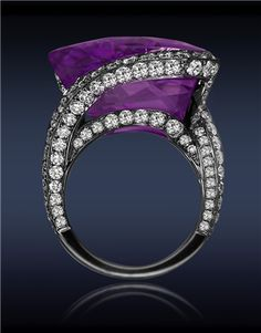 Diamond, amethyst ring - Jacob & Co. Amethyst Diamond Ring with Rose Cut Amethyst Center to Pave Set White Diamonds Stones) on Gallery and Spiral Shank. Amethyst And Diamond Ring, Amethyst Stone, Purple Diamond, Purple Amethyst, Diamond Crown, Sapphire Diamond, Blue Sapphire, Diamond Rings, Jewelry Rings