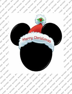 Merry Christmas Mickey Mouse  Head Iron on by SAVVYCOUNTRYDESIGNS