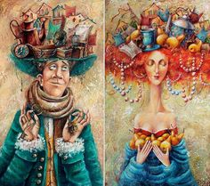 """""""Мысли мужские, мысли женские..."""" художнтк иллюстратор Яна Фефёлова(Yana Fefelova)."""