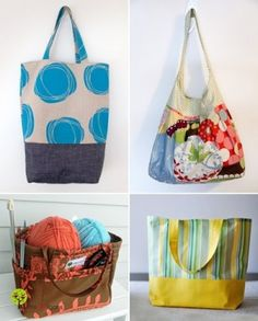 """Tote bags tutorials: An """"easy"""" sewing project. (from someone who f**ked up sewing a pillow) things-i-want-to-make Sewing Class, Sewing Basics, Sewing Hacks, Sewing Tutorials, Sewing Projects, Sewing Patterns, Bag Tutorials, Bag Patterns, Basic Sewing"""