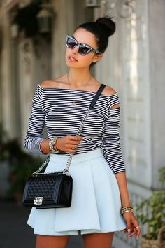 Cat eye sunglasses & off the shoulder stripped top