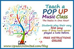 You can teach a Pop Up Music Class! FREE Instructions online at www.upadounlimited.com/blog Up Music, Music Class, Relationship Building, Pop Up, Something To Do, Fun Facts, Student, Entertaining, Teaching