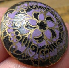 Large Enamel Purple and Black Brass Antique Button.