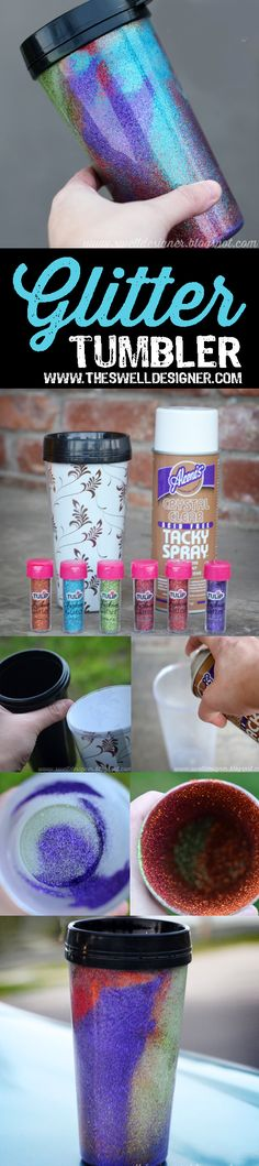 Make your own Glittered Tumbler Glitter Crafts, Glitter Paint, Glue Crafts, Wreath Crafts, Easy Crafts, How To Make Diy, Make Your Own, Do It Yourself Decorating, Diy Decorating