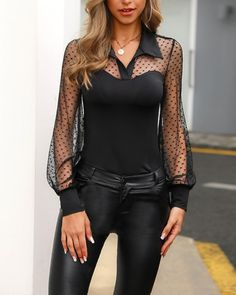Shop Dot Sheer Mesh Yoke Casual Blouse right now, get great deals at menisoo Mode Chic, Mode Style, Trend Fashion, Womens Fashion, Cheap Fashion, Mode Outfits, Fashion Outfits, Elegant Woman, Shirt Blouses