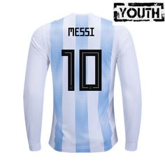 a6e8405fb Lionel Messi Youth Home LS Soccer Jersey 2018 Argentina  10. Argentina  World Cup ...