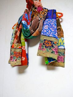 sale patchwork bohemian gypsy ethnic silk cotton multi color scarf - Chaise Eleven Patchwork Colors