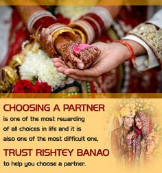 Trust Rishtey Banao to help you Choose a Partner....http://goo.gl/0NtBgr