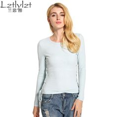 Woman O-neck Pullovers Cotton Tops Tshirt Shirt Women New Arrival Female Clothes Autumn Hoody Bandage Long Sleeve