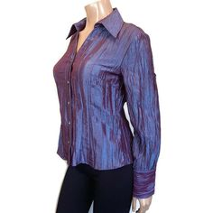 Vtg NWT Simons Contemporaine Iridescent Shirt Womens Medium Purple Crinkle Gem #Contemporaine #Basic #PartyCocktail Crinkles, Iridescent, Gem, Blouses, Medium, Purple, Sleeves, Jackets, Shirts