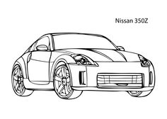 Super car Nissan 350Z coloring page, cool car printable free