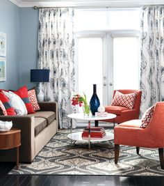 style at home-navy & coral living room