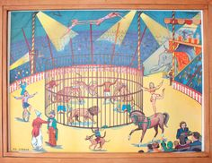 Vintage French school poster. Double sided .1950's. Original. The circus - After the downpour on Etsy, 70,00 €