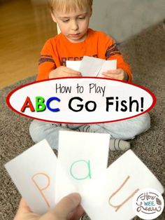 ABC Card Game for Preschoolers! This is such a fun card game for preschoolers : ABC Go Fish! 3 year olds can practice letters and sounds and all sorts of alphabet activities. A super tip for introducing letters and teaching letter recognition as well. Teaching Letter Recognition, Teaching Letters, Preschool Letters, 3 Year Old Preschool, Teaching Letter Sounds, Abc Preschool, Toddler Learning Activities, Preschool Learning Activities, Letter Activities