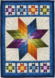 kerrykatiecakes: Win This Quilt! kerrykatiecakes: Win This Quilt! Lone Star Quilt Pattern, Star Quilt Blocks, Star Quilt Patterns, Star Quilts, Mini Quilts, Colchas Quilting, Quilting Projects, Quilting Designs, Rainbow Quilt