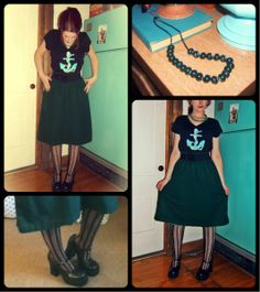 Craft, Thrift, or Die: What I'm Wearin': Big, Green Skirt, vintage, DIY anchor shirt, thrift store fashion