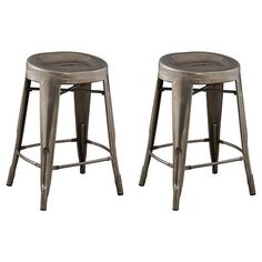 "$71.99 Backless 23.7"" Counter Stool Steel/Silver (Set of 2) - Ace Bayou : Target"