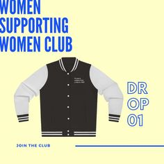 "swim xl on Instagram: ""We got your back. Literally. Warm up this winter with Limited Varsity jackets. Shop Drop 01 now. More to come. #womensupportingwomen"" Feminist Apparel, Varsity Jackets, Your Back, Slogan, Wetsuit, You Got This, Swimming, Drop, Warm"