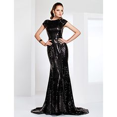Sequined Bateau Neck Sweep/Brush Train Evening Dress Inspired By Evan Rachel Wood at the Emmys  – USD $ 98.99