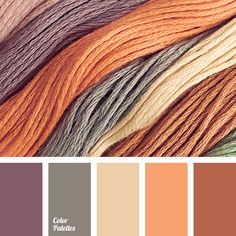 brown and gray, brown and lilac, brown and orange, gray and beige, gray and brown, gray and lilac, gray and orange, lilac and beige, lilac and brown, lilac and gray, lilac and orange, orange and beige, orange and brown, orange and gray, rich orange and yellow.