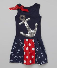 Another great find on #zulily! Navy Anchor Sequin Dress - Infant, Toddler & Girls #zulilyfinds