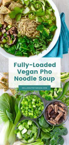 wfpb recipes no oil instant pot ~ wfpb recipes + wfpb recipes no oil + wfpb recipes forks over knives + wfpb recipes plant based + wfpb recipes no oil dinner + wfpb recipes no oil instant pot + wfpb recipes no oil breakfast + wfpb recipes easy Vegetarian Pho, Vegan Soups, Vegetarian Recipes, Healthy Recipes, Pho Soup Recipe Vegetarian, Pho Soup Recipe Easy, Soup Base Recipe, Plant Based Recipes, Veggie Recipes