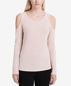 2e099795bd2b2 CALVIN KLEIN  59 Womens New 1098 Pink Cold Shoulder Long Sleeve Top XL BB   fashion