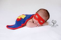 Newborn super hero set - photography prop - superhero cape and mask - crochet photo prop