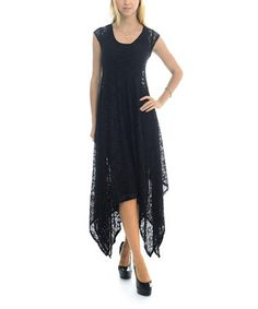 Look what I found on #zulily! Black Lace Lace Handkerchief Dress - Women #zulilyfinds