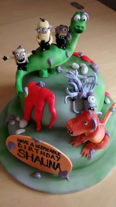 Crazy cake as requested by my daughter- she loves minions and dinosaurs, what can i say?! :)