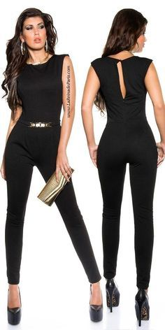 Eleganter ärmelloser Overall Jumpsuit goldene Schnalle Schwarz . Spring Fashion Casual, Look Fashion, Fashion Outfits, Womens Fashion, Summer Outfits, Casual Outfits, Cute Outfits, Girly Outfits, Stylish Dresses