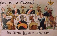 ~The Grand Lodge in Session~ Are you a Mason? Masonic Humour Postcard