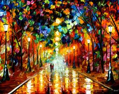 """Parete grande pittura a olio su tela da Leonid Afremov - addio alla rabbia. Dimensioni: 36 """"X 24"""" pollici"""