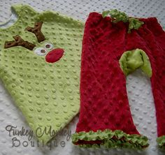 Christmas Red and Grinch Green Minky Booty Pants Custom Size 0 6 12 18 24 months
