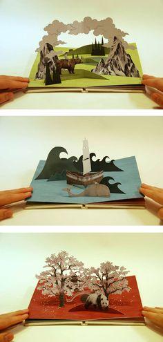 Owen Gatley - boy taken on journey though different landscapes and returns home again.Pop-up book Kirigami, Cuento Pop Up, Arte Pop Up, Pop Up Karten, Buch Design, Diy And Crafts, Paper Crafts, Foam Crafts, Paper Pop