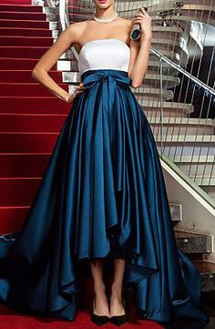 A-line Princess Strapless Asymmetrical Satin Evening Dress inspired by Marion Cotillard