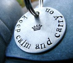 Keep Calm and Carry On keychain from etsy.com.  This would be great for so many people...