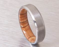 titanium and olive rings mens wood rings wood wedding band mens wedding band beveled edge - Wood Wedding Rings For Men