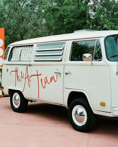 "The couple, who call themselves ""the A Team,"" originally wanted to repurpose the old-school VW bus by The Foto Booth Bus to be used as the backdrop for the dessert station. However, their wedding planner suggested teaming it with the vintage lounge area, creating a cohesive throwback look. This allowed guests to utilize the photo booth inside the vehicle while the exterior also doubled as a cool photo-taking backdrop."