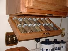 Oooh! LOVE this! Space saver Spice Rack  great idea for camper