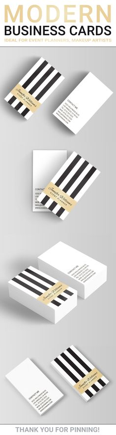 Trendy and chic vertical business cards template with black and white stripes. This modern business card will be ideal for trend setting businesses such as event planners, hair stylists and makeup artists.