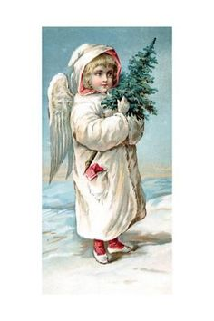 Art Print: Center Warshaw Collection of Business Americana Series: Christmas Angels : Images Vintage, Vintage Christmas Images, Victorian Christmas, Christmas Pictures, Vintage Cards, Vintage Postcards, Christmas Angels, Christmas Greetings, Kids Christmas