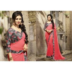 Gorgeous work wear red printed saree