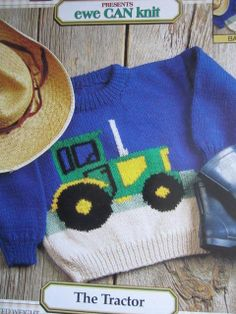 See Sally Sew-Patterns For Less - The Tractor Knit Sweater Bernat Knitting Pattern 1801 Child's Sizes 2 - 8