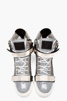 Giuseppe Zanotti Black & White Leather Mesh-print High-top Sneakers for men | SSENSE