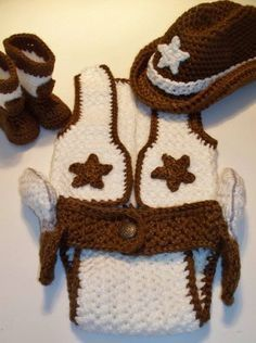 crochet+baby+cowboy+boots+patterns+free+vest+,hat+and+diaper+cover | Crochet for baby wild west