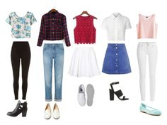 """""""crop tops"""" by sarahtonins on Polyvore featuring MTWTFSS Weekday, Topshop, Paige Denim, Jigsaw, Vans, Charlotte Russe, Glamorous, Restricted, River Island and Charlotte Olympia"""