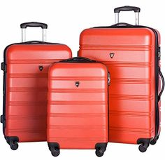 6b631dfe34 Merax Travelhouse Luggage 3 Piece Expandable Spinner Set (Red 1) Best  Luggage
